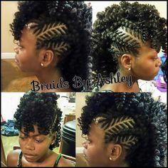 . Braided Mohawk Black Hair, Braided Mohawk Hairstyles, Mohawk Braid, Ethnic Hairstyles, Crochet Braids Hairstyles, Twist Hairstyles, Braid Hair, Faux Mohawk, Bun Updo