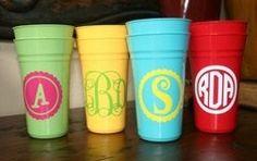 monogrammed plastic cups @ Heart-2-HomeHeart-2-Home