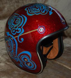 Custom motorcycle bobber helmet Bell 500 style by ThinkingCapInk, $199.00
