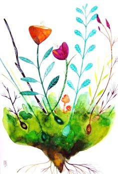 Flowers Original Painting Contemporary Art Drawing Nature Watercolor Ink Home Decor Plants Pink Green Brown Orange Mushrooms Leaves. €65.00, via Etsy.