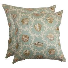 Set of two cotton pillows with blue and beige coastal motif.  Product: Set of 2 pillowsConstruction Material: Cotton cover and high fiber polyester fillColor: Light blue, tan and whiteFeatures:  Inserts includedHidden zipper closureMade in the USA Dimensions: 18 x 18 eachCleaning and Care: Spot clean