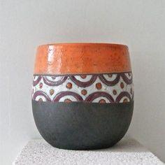 mug raku orange motifs variés