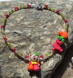 Beautiful  Girls Handmade Polymer Clay Clwon Bead Set Necklace