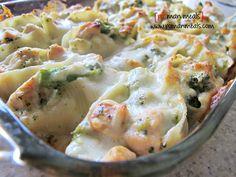 Chicken and broccoli stuffed shells casserole