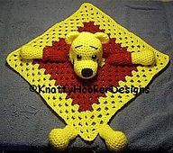 Crochet Blankets Design Ravelry: Pooh Inspired Lovey Blankie pattern by Knotty Hooker Designs - A GREAT Pattern for an even GREATER cause… Crochet Security Blanket, Crochet Lovey, Lovey Blanket, Manta Crochet, Crochet Blanket Patterns, Cute Crochet, Baby Blanket Crochet, Crochet For Kids, Crochet Crafts
