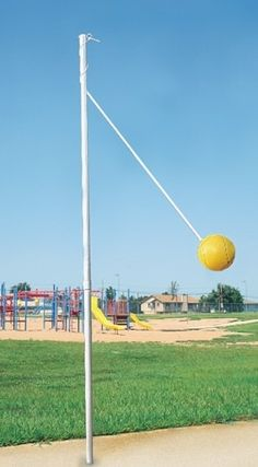 tetherball...NOT my favorite school yard game! I wore glasses and I always got hit in the face with the ball...not a good thing when wearing wire frame glasses, for my face or my crushed glasses!