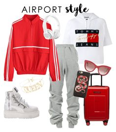 """Tommy girl stylish but comfy ready for the flight."" by irini-stam on Polyvore featuring Tommy Hilfiger, Y/Project, Gucci, Puma and airportstyle"
