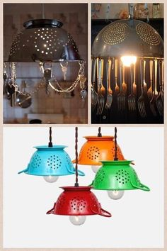 What to do with old colanders and silver wear... Might make a neat wind chime too!