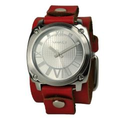 Nemesis Women's RGB066S Roman Numeral Collection Silver on Red Leather Band Watch Nemesis. $42.00. Japanese quartz movement. Case diameter: 42 mm. Durable mineral crystal protects watch from scratches. Silver-tone alloy case. 100% usa made genuine leather