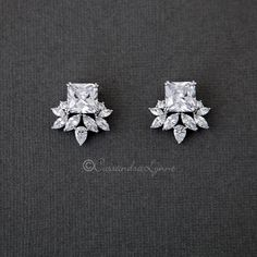 These bling cubic zirconia earrings are created with a central square cut stone accented with marquise and pear stones. Small but mighty they will brighten your Bridal Earrings, Bridal Jewelry, Stud Earrings, Helix Earrings, Beaded Jewelry, Flower Earrings, Boho Jewelry, Silver Earrings, Long Diamond Earrings