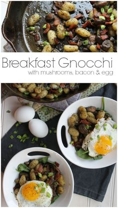 Breakfast Gnocchi with mushrooms, bacon and egg | My Urban Oven