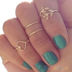 Urban Gold Plated Crystal Plain Above Knuckle Ring