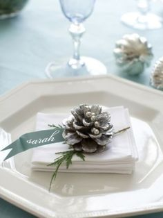 Pine cone place card for Christmas or winter dinner. These tiny pinecones come off my Mugo Pine.