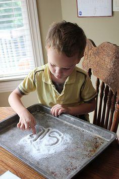Kindergarten on a Budget: Making Salt Letters (a fun, frugal, educational activity!)