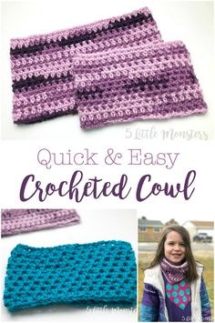5 Little Monsters: Quick and Easy Crocheted Cowl Knitting TechniquesKnitting FashionCrochet BlanketCrochet Baby Quick Crochet, Crochet For Kids, Crochet Baby, Knit Crochet, Crochet Cowl Free Pattern, Easy Crochet Patterns, Cowl Patterns, Crochet Ideas, Knitting Patterns