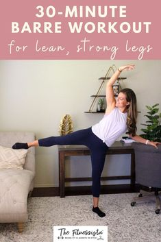 Sharing a barre video workout you can do at home, featuring some of my very favorite exercises for lean, strong legs. All you need is something sturdy to hold onto for balance, like a chair or countertop. | Barre Workouts | The Fitnessista Quick Workout At Home, 4 Week Workout, Workout Routines For Women, Workout Challenge, Barre Workout Video, Cardio Barre, Workout Videos, Lean Legs, Strong Legs