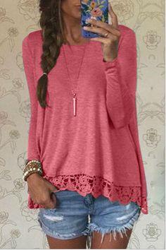 Mulheres camisa 2016 outono varredura rendas laciness de manga comprida t shirt vestidos GZ721 em Camisetas de Roupas e Acessórios no AliExpress.com | Alibaba Group
