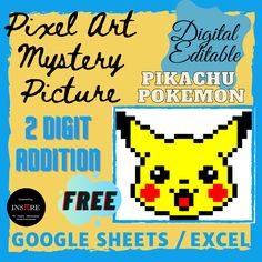 2 Digit Addition Regrouping - Pikachu Pokemon Pixel Art Mystery Picture E