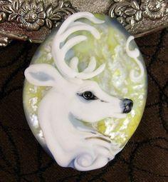 White Reindeer Lampwork Focal Bead - Kerri Fuhr