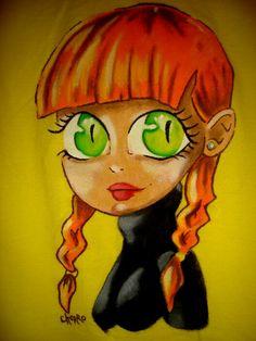 Retrato de chica Painted with plastisol
