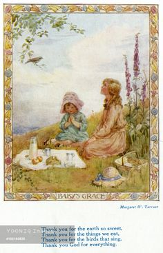 'Thank you for the earth so sweet' - Illustration from the book 'Rhymes of Old Times'