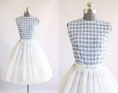 Vintage 1950s Dress / 50s Cotton Dress / L'Aiglon Blue Dotted Dress w/ Floral Eyelet Bodice S