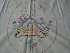 Vintage 1950s Hand Embroidered Baby Blanket - Bear riding on a Turtle-Un finished by starspatternstore on Etsy