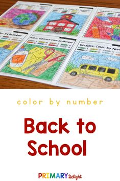 Back to School color by number 2nd grade math worksheets are a fun way for kids to practice addition, subtraction, place value and telling time. Use these printable pages for morning work for students or for early finishers in the classroom or homeschool setting. #BackToSchool  #Addition #Subtraction  #PrimaryDelight 2nd Grade Math Worksheets, First Grade Math, Teaching Subtraction, Math Pages, Addition Games, Tally Marks, Early Finishers, Basic Math, Telling Time