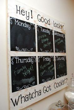 a simple weekly menu board using wood and chalkboard paint. Make a simple weekly menu board using wood and chalkboard paint.Make a simple weekly menu board using wood and chalkboard paint. Chalkboard Calendar, Framed Chalkboard, Kitchen Chalkboard, Blackboard Menu, Chalkboard Decor, Chalkboard Designs, Chalkboard Markers, Chalkboard Drawings, Chalkboard Lettering