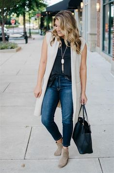 Two must-have outfits for Fall, one for work and one for the weekend! You'll love these two ways to wear a long sweater vest! Long Vest Outfit, Sweater And Jeans Outfit, Long Sweater Vest, Vest Outfits, Sweaters And Jeans, Long Sweaters, Sleeveless Jacket, Clothes For Women, Outfit Ideas