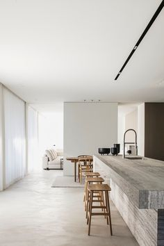 Project VV is a minimal house located in Kortrijk, Belgium, designed by Pieter Vanrenterghem. The architects were tasked in creating a warm and simple home that would adapt to the clients' lifestyle. Architecture Design Concept, Home Interior, Interior Design, Simple Interior, Interior Modern, Kitchen Interior, Design Minimalista, Casa Clean, Minimal Home