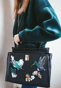 Vegan Leather Bag with Embroidery- Poppy Lovers Fashion