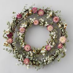 Eucalyptus + Strawflower Wreath - Lilly is Love Dried Flower Wreaths, Fall Wreaths, Door Wreaths, Dried Flowers, Floral Wreaths, Wreath Crafts, Diy Wreath, Wreath Ideas, Witch Wreath