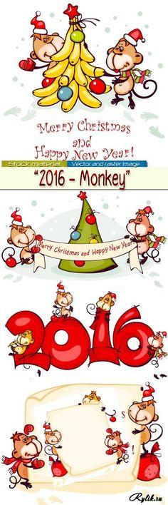 Веселые обезьянки - символ 2016 года в векторе