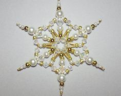 Snowflake Ornament - White Pearl Gold and Clear AB - Beaded Snowflakes - Christmas Ornaments - Snowflakes