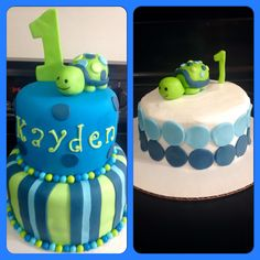 Turtle 1st Birthday Cake and matching smash cake