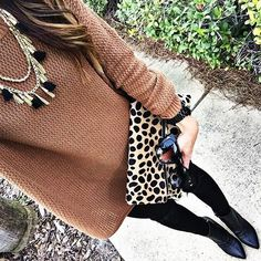 Long Sleeve Brown Sweater Dress + black leggings + black watch + black booties Fall outfit winter outfit