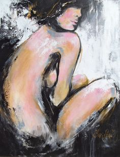 """Original Figure Nude Modern Painting - Gallery Quality Professional Acrylic Painting by Lana - Size 30"""" tall and 24"""" wide. $395.00, via Etsy."""