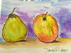 Pear & Apple. Watercolours from Tracey Fletcher Kings Delicious Paint class