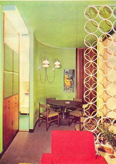 "Sala da Pranzo, Alba magazine I want to use decorative metal dividers in our current ""atomic ranch"" house. Retro Room, Retro Home, Decor, Vintage Interior Design, Mid Century Modern Interiors, Mid Century Design, Mid Century Decor, Home Decor, Retro Interior"