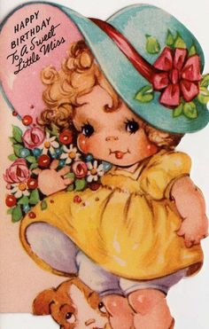 postcard.quenalbertini: Vintage Birthday Card, 1950's | by poshtottydesignz on Etsy