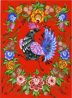 Folk Gorodets painting from Russia. A peacock in a floral frame. Pintura Country, Art Populaire Russe, Folklore Russe, Russian Folk Art, Madhubani Art, Inspiration Art, Galo, Tole Painting, Painting Tips