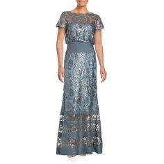 Tadashi Shoji Sequin Topped Illusion Gown