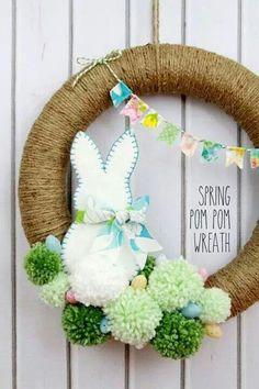 Crafts and DIY Decor Ideas Spring Pom Pom Wreath - so cute! Tutorial on { }Spring Pom Pom Wreath - so cute! Tutorial on { } Diy Spring Wreath, Spring Crafts, Holiday Crafts, Wreath Crafts, Diy Wreath, Wreath Ideas, Tulle Wreath, Decor Crafts, Wood Crafts