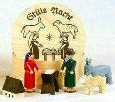 Nativity Scene German Erzgebirge Wood Miniature Set Handcrafted in Germany New