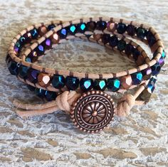 Beaded double wrap bracelet leather and bead by rubybluejewels
