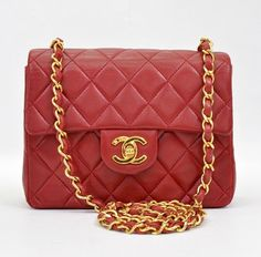 Chanel Vintage Red Quilted Leather Mini Flap Bag
