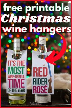 Free Printable and Fun! Christmas Wine Tags To Gift (Or Keep) This Holiday Season! Download your free printable wine hangers to tag their fave bottle of white or red. These wine tags will make a great gift even better. Perfect for a holiday hostess gift, colleagues at work, etc! #wine #winetag #winehanger #christmas #achristmasstory #winegift #freeprintable #printable #christmasfreeprintable Wine Christmas Gifts, Homemade Christmas Gifts, A Christmas Story, Christmas Tag, Christmas Crafts, Christmas Ideas, Christmas Stuff, Homemade Gifts, Christmas Ornaments