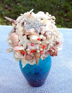 Sea Shell Wedding Bouquet Bridal Brooch Bouquet  by BoHoBridal, $200.00