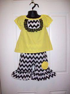 Girls Peasant Shirt & Chevron Ruffle Capris Set by MacKenzieNoelle